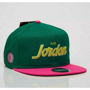 Nike Air Jordan PRO SCRIPT SNAPBACK Cap Green/Pink